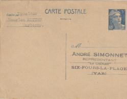 GANDON 5F BLEU SUR CHAMOIS 719B-CP1 DE NARBONNE P/SIX FOURS   Tda50 - Cartes Postales Types Et TSC (avant 1995)