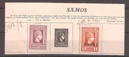 SAMOS /lot De 2 Timbres NON DENTELES NON OBLITERES COLLES SUR FEUILLE ALBUM TRES ANCIEN (YT N°8 Et YTn° 14) - Samos