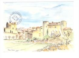 83 Tourtour Illustration Aquarelle Lieselotte Vogel-Steinbach - France