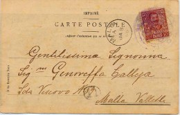 ITALIA 1906 Nº 67 . TARJETA DE SIRACUSA A MALTA. CANCEL SHIP HUNGARO ADRIA - 1900-44 Vittorio Emanuele III