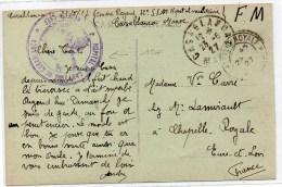 """1927 - CP FM Avec CACHET """"HOPITAL DE CAMPAGNE DE CASABLANCA"""" (MAROC) - Marcophilie (Lettres)"""