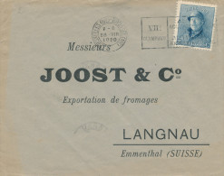 337/22 - Lettre TP Casqué 25 C - Cachet Mécanique JEUX OLYMPIQUES ANVERS 1920 - BXL Vers LANGNAUSuisse - Summer 1920: Antwerp