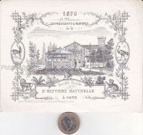 GENT (Gand) - 1870 - Porseleinkaart 14x10cm - GENTSE ZOO - Societe Royale d' Histoire naturelle - BELGIAN HISTORY !!