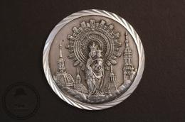 Old Religious Medal Of Our Lady Of The Pillar - Zaragoza Spain - 50 Mm Diameter - Religión & Esoterismo