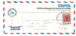 Lettre / Cover .carta Guayaquil, Ecuador, Illustrée Tortue ,Escuela Superior Politecnica Del Litoral,timbre Statue,1982 - Equateur