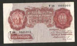 [NC] UNITED KINGDOM - BANK Of ENGLAND - 10 SHILLINGS T38 (B. CATTERNS 1929 / 1934) - GEORGE V - 1952-… : Elizabeth II