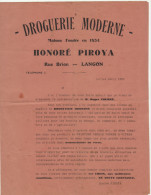 Gironde, Langon, Droguerie Moderne H. Piroya, Nouvel Associé 1930 (2 Scans) - 1900 – 1949
