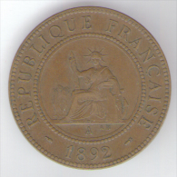 INDO CHINE FRANCAISE 1 CENTIME 1892 - Colonie