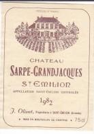 CHATEAU SARPE GRAND JACQUES 1982 / SAINT EMILION - Bordeaux