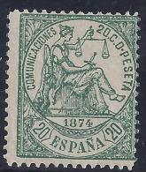 ESPAÑA 1874 - Edifil #146 - MLH * - 1873-74 Regentschaft