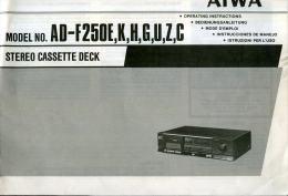 AIWA MODEL AD F250E,K,H,G,U,Z,C STEREO CASSETTE DECK ISTRUZIONI PER L'USO - Libri, Riviste, Fumetti