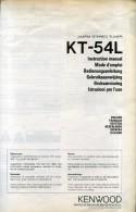 KENWOOD KT 54L AM FM STEREO TUNER  ISTRUZIONI PER L´USO - Libri, Riviste, Fumetti