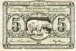 Groënland - Greenland : Billet De 5 Kroner Du Type De 1953 Bon état.- FRANCO DE PORT - Groenland
