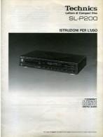 TECHNICS LETTORE COMPACT DISC SL P200  ISTRUZIONI PER L´USO - Libri, Riviste, Fumetti