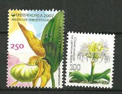 Orchidée Cypripedium Agnicapitatum & Amaryllis. 2 T-p Neufs ** De Corée Du Sud. - Orchids