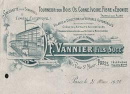 """Facture Illustrée """"  F.VANNIER Fils """" Tourneur Sur Bois,os,corne,ivoire,fibr E Et ébonite,165 Rue St Maur Paris - France"""