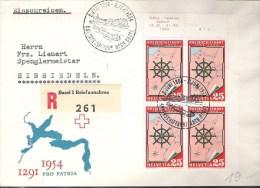 Schweiz  Stempel  RHEINSCHIFFAHRT 2.Juni 1954 Mit Block Zu 318 Mi 595 Yv 560 - Maritime