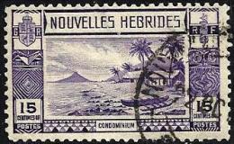 FRANCAISE NEW HEBRIDES LANDSCAPE PURPLE PART SET OF 1 STAMP 15 CENTIMES UHD 1938 SGF55 READ DESCRIPTION !! - Légende Française