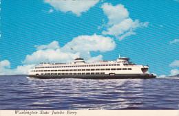 Washington State Jumbo Ferry, Double-Ended Auto Ferry, PUGET SOUND, Washington, 1950-1970s - United States