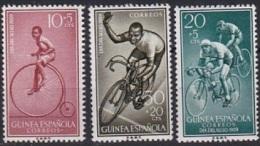SP 011) Spanisch Guinea MiNr 360-62 **: Tag Der Briefmarke 1959: Hochrad, Straßen-Radrennen, Radfahrer - Francobolli
