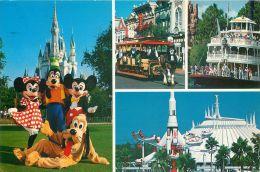 Multiview, DisneyWorld, Florida USA Postcard Used Posted To UK 1988 Stamp - Disneyworld