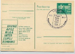 Esperanto Bruno Apitz  DDR P79-36b-80 C135-b Postkarte PRIVATER ZUDRUCK Leipzig Sost. 1980 - Esperanto