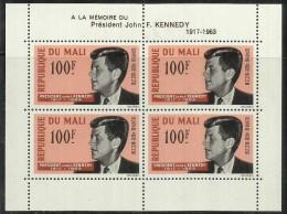 MALI 1963 KENNEDY ASSASSINATION BLOCK SHEET ASSASSINIO BLOCCO FOGLIETTO - Mali (1959-...)