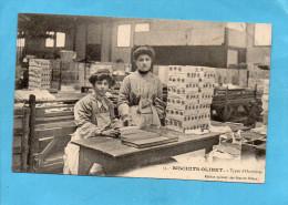 """SURESNES-biscuits OLIBET""""ouvrières  à L'empaquetage-aannées 1900-10 - Suresnes"""