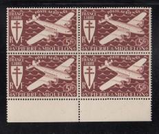 St Pierre Et Miquelon MNH Scott #C3 Margin Block Of 4 5fr Airplane, Brown Red - Poste Aérienne