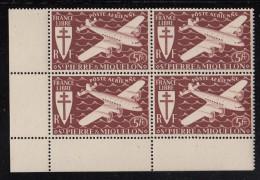 St Pierre Et Miquelon MNH Scott #C3 Corner Block Of 4 5fr Airplane, Brown Red - Poste Aérienne