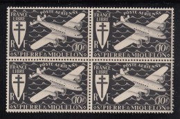 St Pierre Et Miquelon MNH Scott #C4 Block Of 4 10fr Airplane, Black - Poste Aérienne