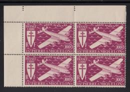 St Pierre Et Miquelon MNH Scott #C7 Corner Block Of 4 100fr Airplane, Plum - Poste Aérienne