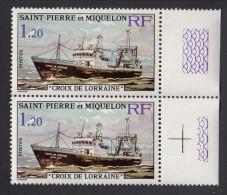 St Pierre Et Miquelon MNH Scott #451-#452 Set Of 2 Margin Pairs: 1.20fr Croix De Lorraine, 1.40fr Goelette - Ships - St.Pierre Et Miquelon