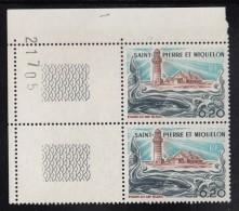 St Pierre Et Miquelon MNH Scott #445 Margin Pair 20c Cap Blanc Lighthouse, Whale, Squid - St.Pierre Et Miquelon