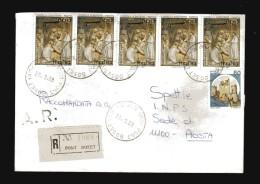 Italia-  St. Post. - 1987 - Racco.- A.R. Natale + Castello.   Vedi Descrizione - 1981-90: Storia Postale