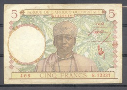 AOF French West Africa   5 Fr 1943 RED Rouge    VF - Billets