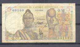 AOF French West Africa   5 Fr 1948     VF  00100 - Banknoten