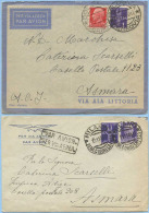 1938-40 AEREA 2 BUSTE NELLE DUE DIVERSE TARIFFE A.O.I. LETTERA 1° (L. 1,50 E 1,75) – INTERESSANTI (A268) - Africa Orientale