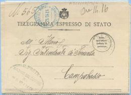 1912 TELEGRAMMA ESPRESSO DI STATO Da SEPINO 17.10.12 A CAMPOBASSO UFFICIO TELEGRAFICO VERDE E A …VEDI DESCRIZIONI (A266) - Storia Postale