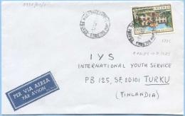 1985 VILLE L.600 (SASS.1735) ISOLATO BUSTA 7.11.85 X FINLANDIA RARO USO POSSIBILE 60 GIORNI DIFETTO ANGOLO INF. SX (5956 - 6. 1946-.. Repubblica