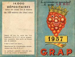 CALENDRIER  VINS GRAP  1957  C - Small : 1941-60