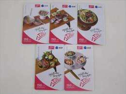 Prepaid Phonecard, Local Food Fish Shell,set Of 5, Used - Thaïlande
