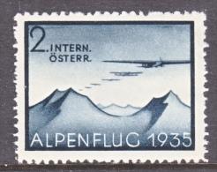 AUSTRIA   ALPEN  FLUG   1935  AEROPHILATELIC - Airmail