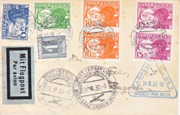 Austria First Flight Cover WIEN-GRAZ-ZAGREB-BEOGRAD  1930 - Airmail