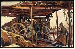 Geschütz In Fliegerdeckung  -  Gemälde-Karte Nach Original Von E. Vollber  -  Ansichtskarte Ca.1917   (2805) - Ausrüstung