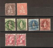 SUISSE / LOT De 8 Timbres Oblitérés (période Entre 1862 Et 1908) Bon Etat Sauf Le 1er (YT35 édenté) - Suisse