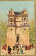 CHROMO DOS BLANC BORDS DORES EXPOSITION UNIVERSELLE 1889 TEMPLE INDIEN - Chromos