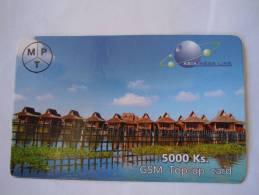 Myanmar Birmanie Burma Birma Village Lake 5000 Ks Mobile GSM Prepaid TOP UP Card EXP: 10.6.2013