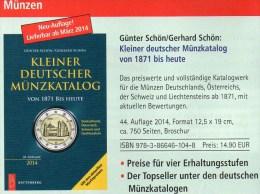 Kleiner Münzkatalog 2014 New 15€ Für Numis-Briefe Schön Coin Of Germany Austria Helvetia Liechtenstein 978-3-86646-104-8 - Télécartes