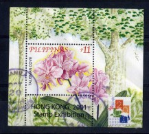 Filippine Philippines Philippinen Pilipinas 2001 Orchids Chinese Philatelic Society Hong Kong Exhibition SS Used - Philippines